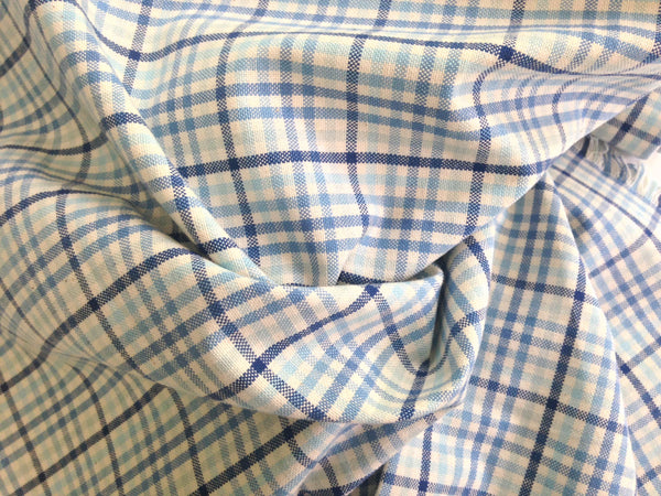 Fabric Woven Blue Plaid - Buttermilk Cottage - 5