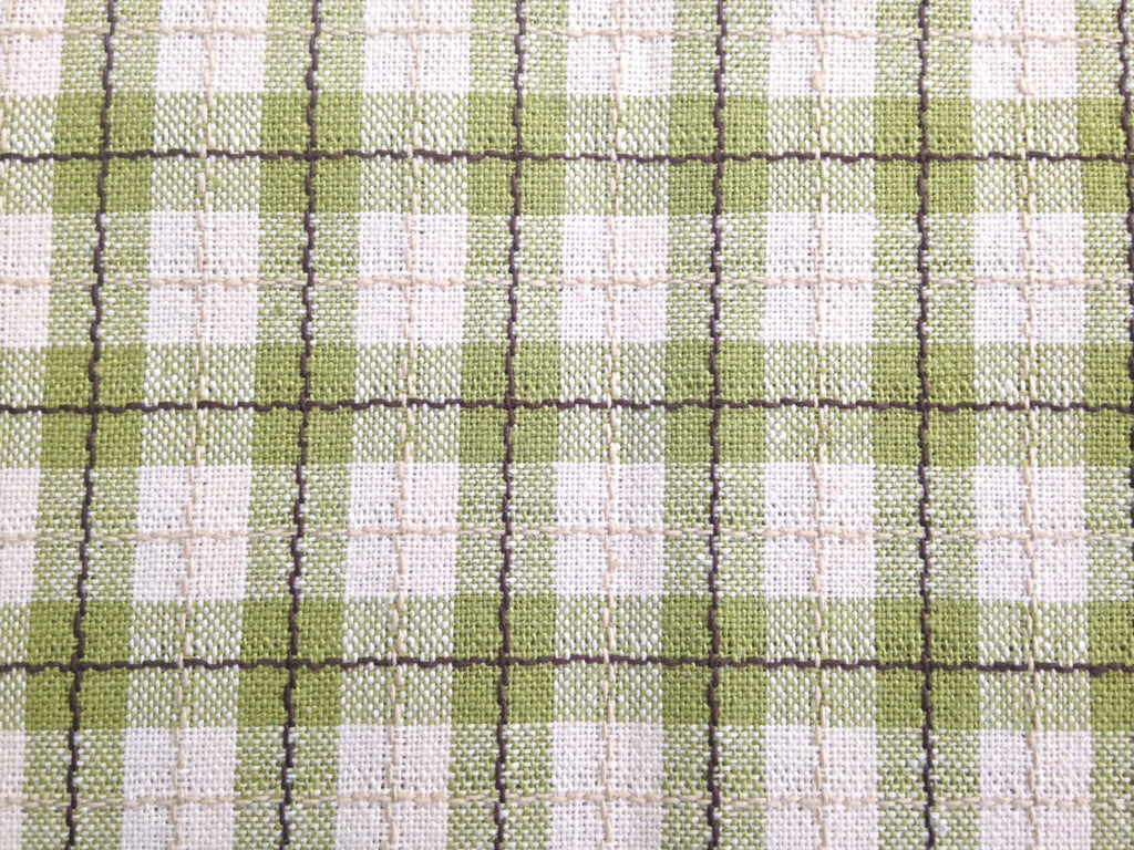 Fabric Green Tattersall Check Plaid - Buttermilk Cottage - 1