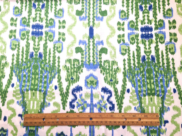 Fabric Blue Green Ikat Woven Fabric - Buttermilk Cottage - 3