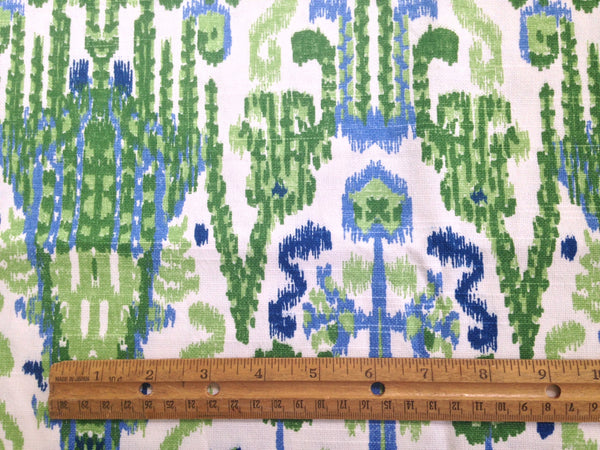 Fabric Blue Green Ikat Woven Fabric - Buttermilk Cottage - 4