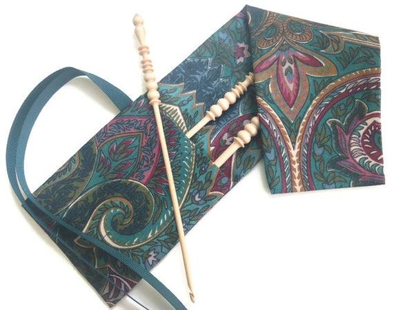 Crochet Hooks for Knitters Teal Paisley - Buttermilk Cottage - 2