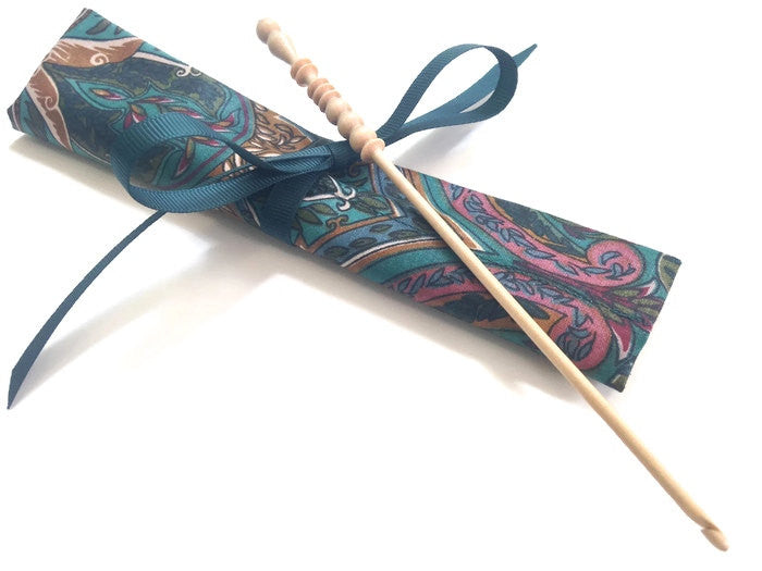 Crochet Hooks for Knitters Teal Paisley - Buttermilk Cottage - 1