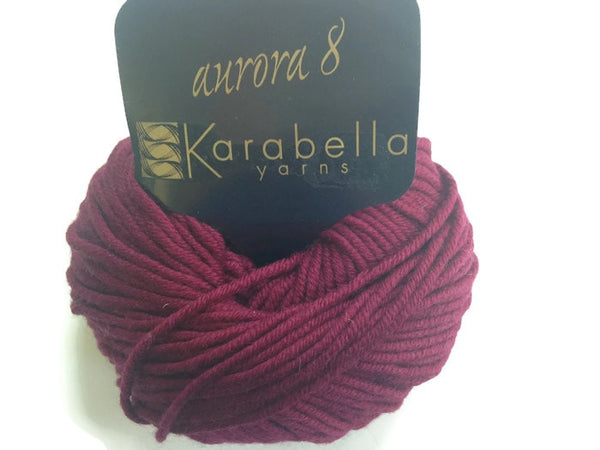 Yarn Karabella Aurora 8 Wine  Burgundy - Buttermilk Cottage - 3