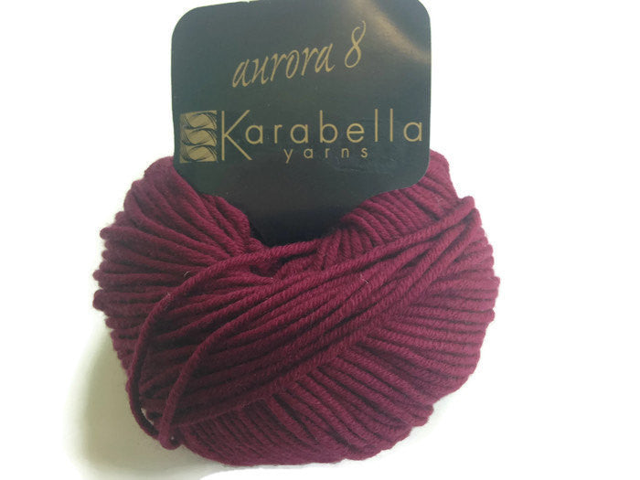 Yarn Karabella Aurora 8 Wine  Burgundy - Buttermilk Cottage - 1