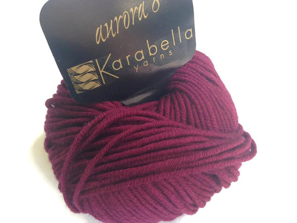 Yarn Karabella Aurora 8 Wine  Burgundy - Buttermilk Cottage - 4