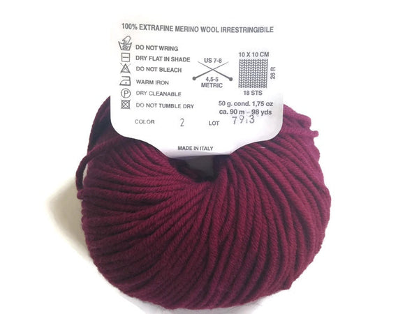 Yarn Karabella Aurora 8 Wine  Burgundy - Buttermilk Cottage - 2