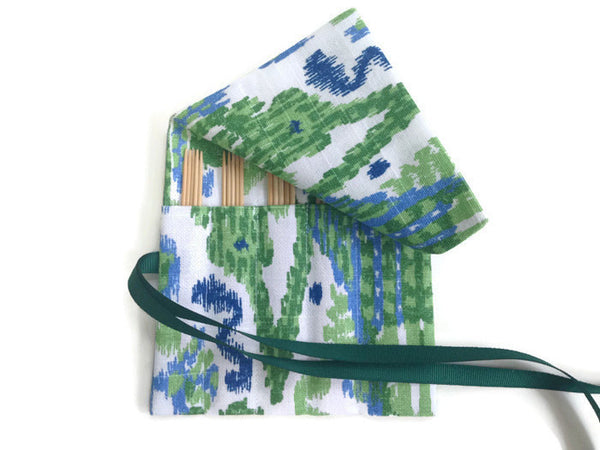 Sock Knitter's Needle Set Linen Ikat Green Blue - Buttermilk Cottage - 2