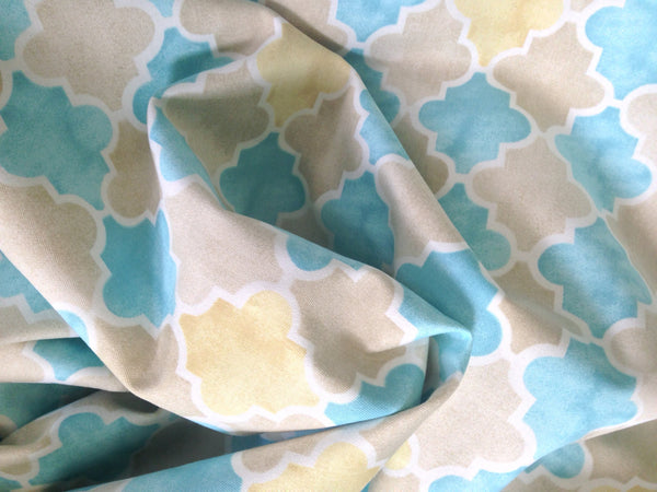 "Fabric ""Beach Walk"" by Laurette Designs Beige Turquoise - Buttermilk Cottage - 1"