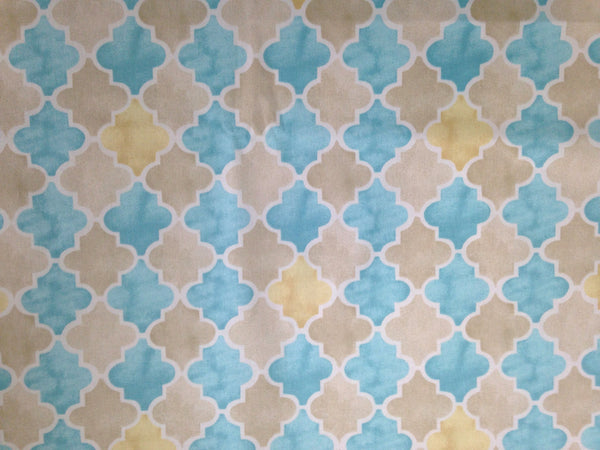 "Fabric ""Beach Walk"" by Laurette Designs Beige Turquoise - Buttermilk Cottage - 2"