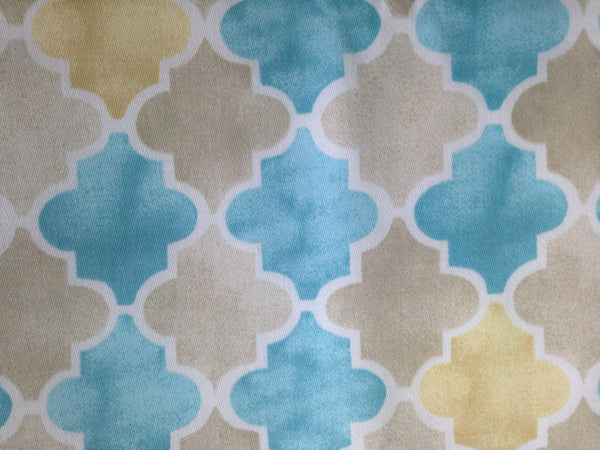 "Fabric ""Beach Walk"" by Laurette Designs Beige Turquoise - Buttermilk Cottage - 3"