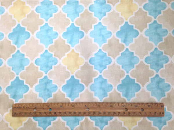 "Fabric ""Beach Walk"" by Laurette Designs Beige Turquoise - Buttermilk Cottage - 4"