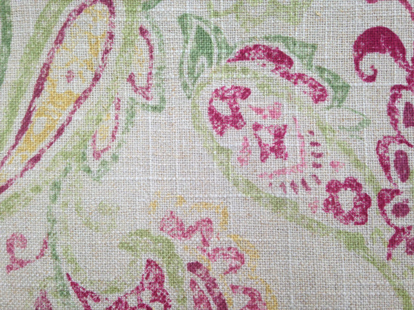 "Fabric ""Daphne"" Covington Linen Blend Rose Paisley - Buttermilk Cottage - 3"