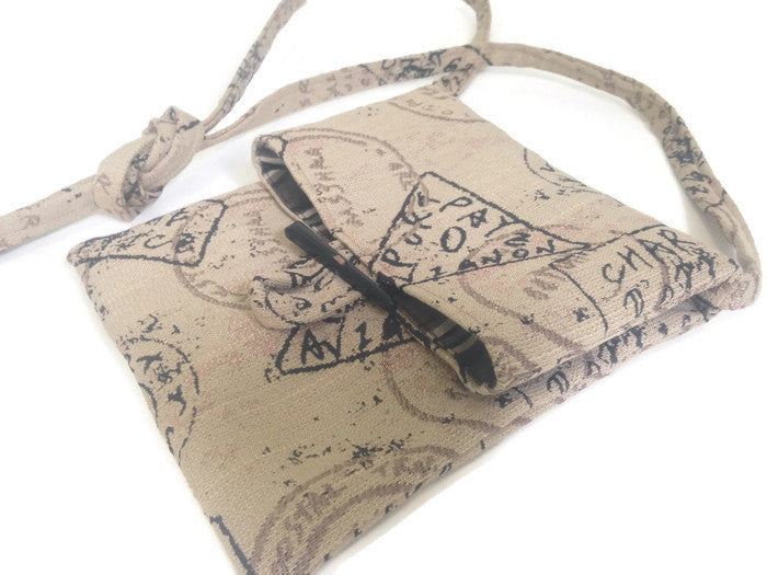Tag Along Bag Beige Postage Stamp Motif - Buttermilk Cottage - 1