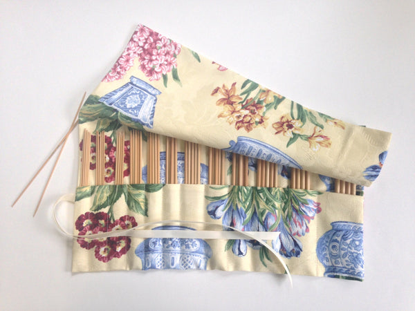 Double Point Needle Roll Up 12 Pockets Blue Chinese Flower Pots - Buttermilk Cottage