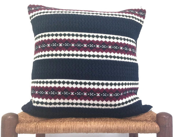 Sweater Pillow Set Dark Blue Fair Isle - Buttermilk Cottage - 4