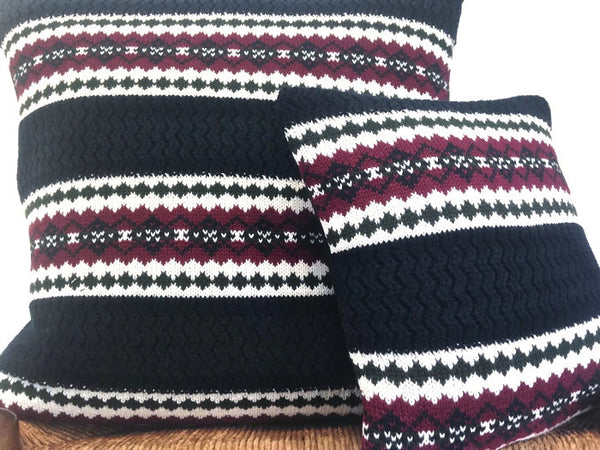 Sweater Pillow Set Dark Blue Fair Isle - Buttermilk Cottage - 2