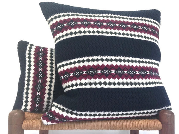 Sweater Pillow Set Dark Blue Fair Isle - Buttermilk Cottage - 1