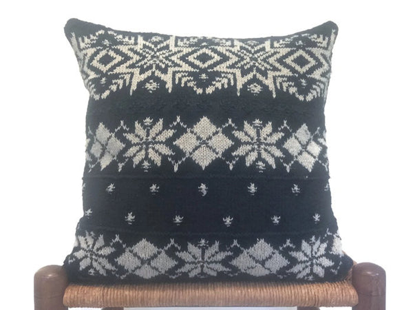 Sweater Pillow Set Black Snowflake - Buttermilk Cottage - 3