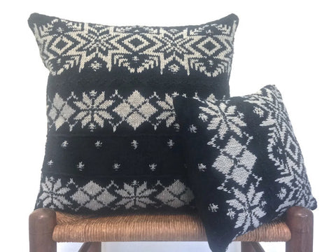 Sweater Pillow Set Black Snowflake - Buttermilk Cottage
