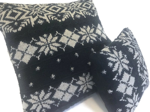 Sweater Pillow Set Black Snowflake - Buttermilk Cottage - 2