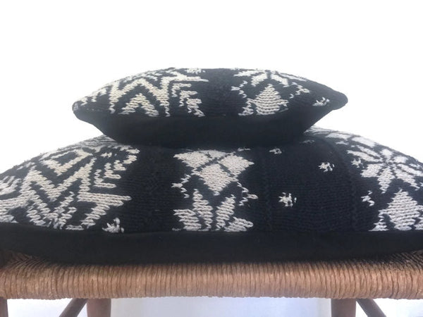 Sweater Pillow Set Black Snowflake - Buttermilk Cottage - 5