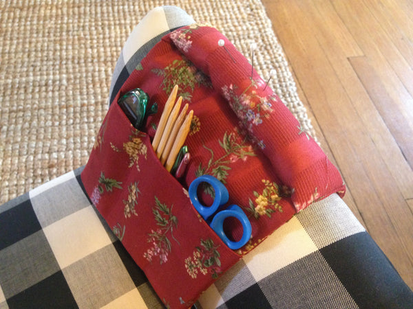 Tools Knitter's Armchair Caddy Red Floral Fabric - Buttermilk Cottage - 3