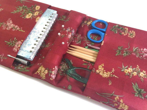 Tools Knitter's Armchair Caddy Red Floral Fabric - Buttermilk Cottage - 1