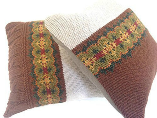 Sweater Pillow Set Brown Fair Isle - Buttermilk Cottage