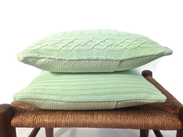 Sweater Pillow Set Pale Green Cable - Buttermilk Cottage - 5