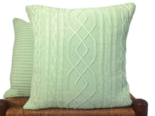 Sweater Pillow Set Pale Green Cable - Buttermilk Cottage - 1