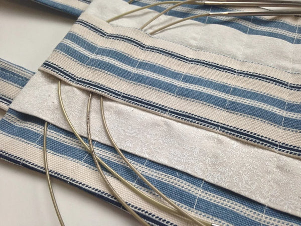 Hanging Circular Needle Organizer Blue Woven Ticking - Buttermilk Cottage - 3