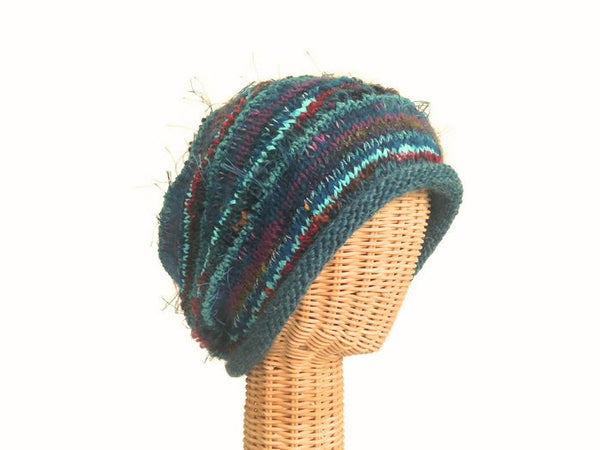 Slouchy Hat Teal FUSION - Buttermilk Cottage - 5