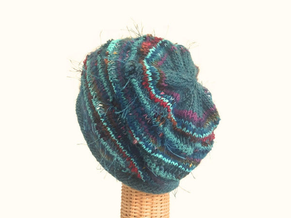 Slouchy Hat Teal FUSION - Buttermilk Cottage