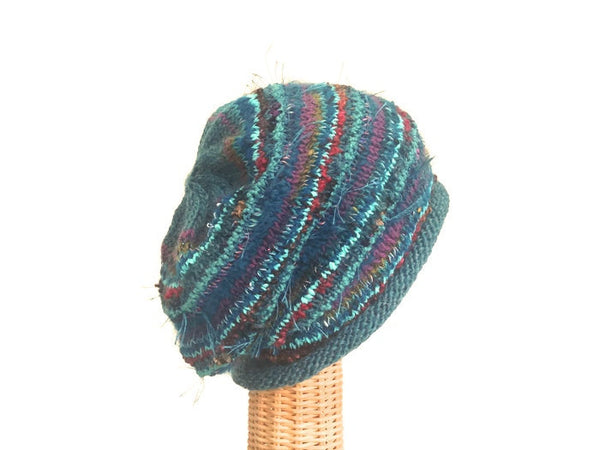Slouchy Hat Teal FUSION - Buttermilk Cottage - 3