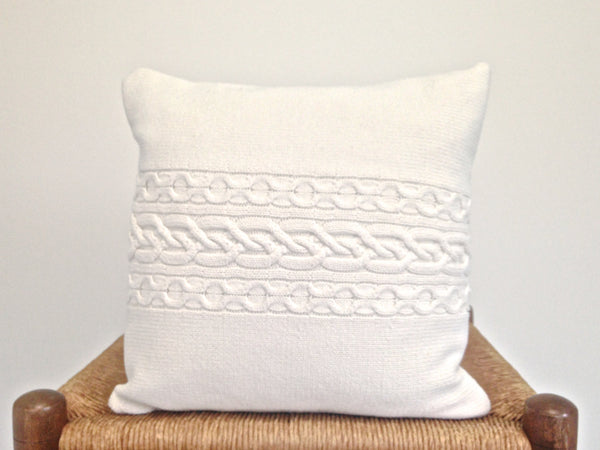 Sweater Pillow Single Off White Celtic Cable - Buttermilk Cottage - 2