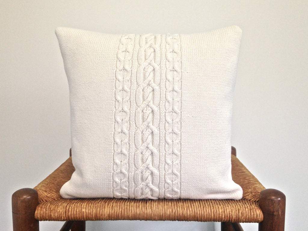 Sweater Pillow Single Off White Celtic Cable - Buttermilk Cottage - 1