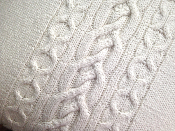 Sweater Pillow Single Off White Celtic Cable - Buttermilk Cottage - 3