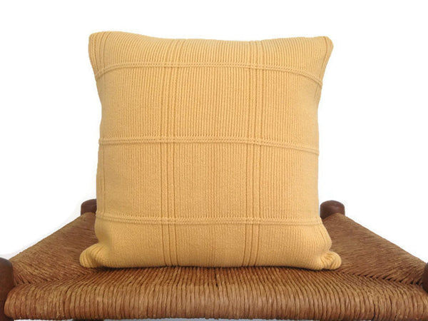 Sweater Pillow Set Yellow Grid - Buttermilk Cottage - 4