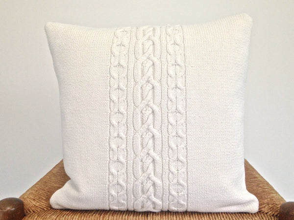 Sweater Pillow Single Off White Celtic Cable - Buttermilk Cottage - 4