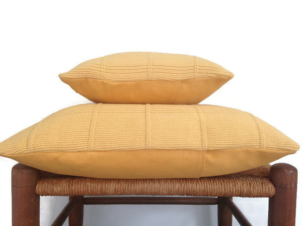 Sweater Pillow Set Yellow Grid - Buttermilk Cottage - 5