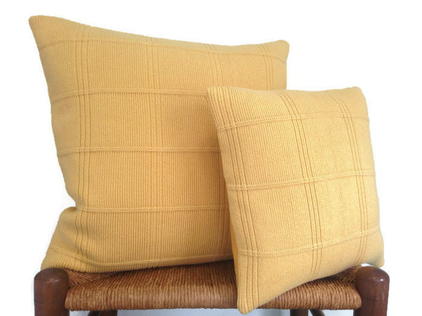 Sweater Pillow Set Yellow Grid - Buttermilk Cottage - 1