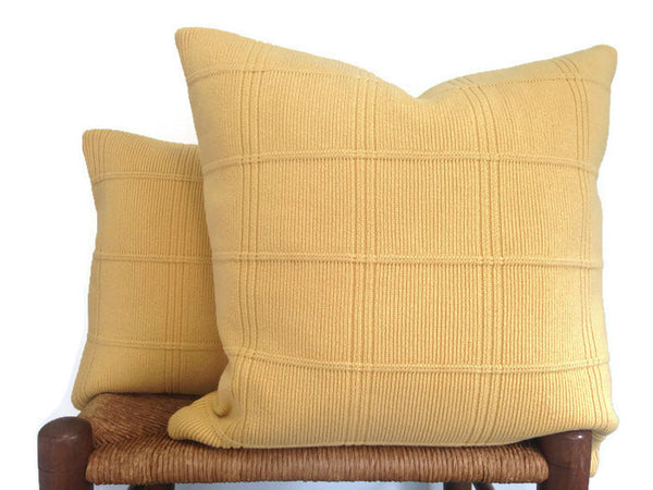 Sweater Pillow Set Yellow Grid - Buttermilk Cottage - 2