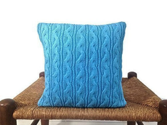 Sweater Pillow Set Turquoise Celtic Cable - Buttermilk Cottage - 4