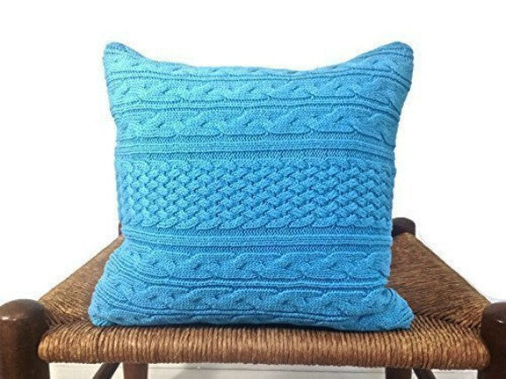 Sweater Pillow Set Turquoise Celtic Cable - Buttermilk Cottage - 3