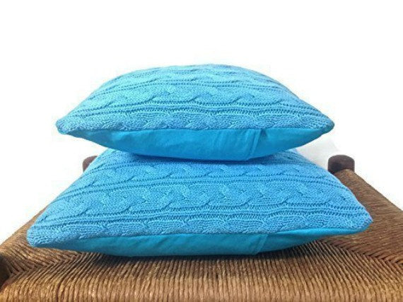 Sweater Pillow Set Turquoise Celtic Cable - Buttermilk Cottage - 5