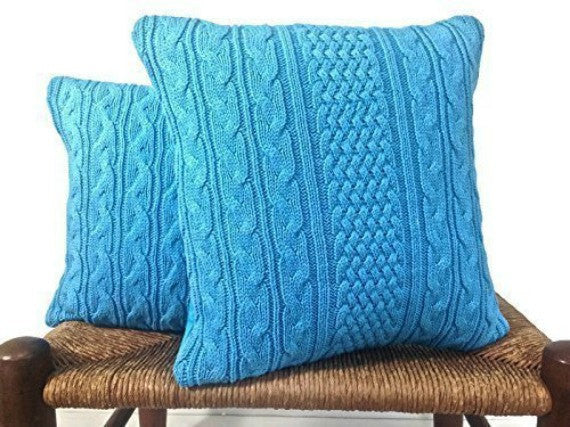 Sweater Pillow Set Turquoise Celtic Cable - Buttermilk Cottage - 1