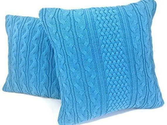 Sweater Pillow Set Turquoise Celtic Cable - Buttermilk Cottage - 2