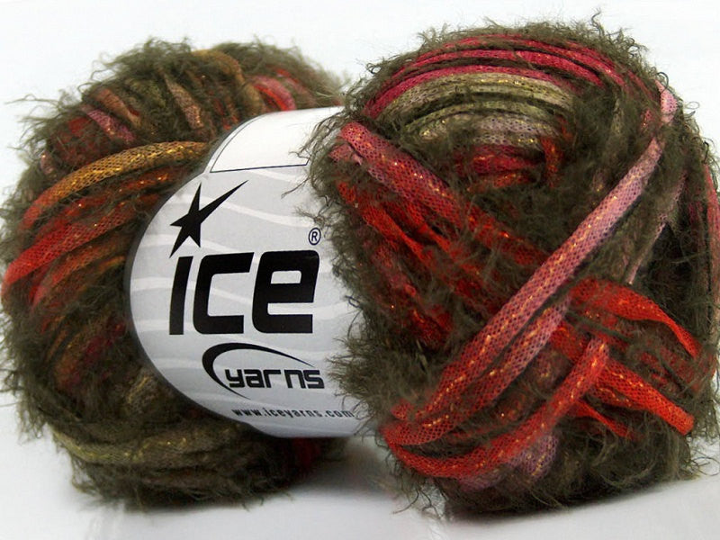 Yarn ICE Techno Shine Khaki Red Lilac - Buttermilk Cottage - 1
