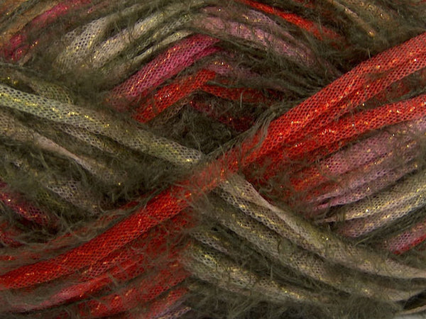 Yarn ICE Techno Shine Khaki Red Lilac - Buttermilk Cottage - 2