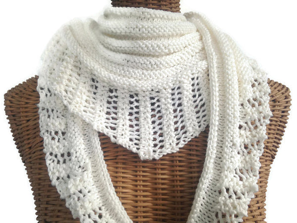 Lacy Knit Scarf Cotton Wool White - Buttermilk Cottage - 1